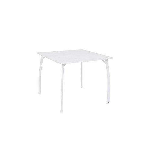 greemotion Gartentisch Weiß Toulouse - Esstisch Garten eckig - Tisch aus Streckmetall kunststoffummantelt - Balkontisch mit Niveauregulierung - Tisch für Terrasse & Balkon 90 x 90 cm