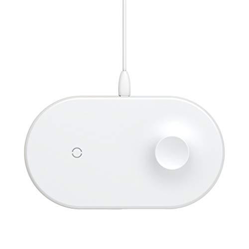 Qi Wireless Charger Amuse-MIUMIU Ladegerät Intelligentes 2-in-1 Schnellladegerät Ladestation Kabelloses Induktive Drahtloses Schnell Ladeständer für iPhone X Serie/für iWatch (Weiß) - Smart-response-mobile