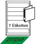 pripa Etichette per raccoglitori Stretta 190X 38mm, 50fogli A4ETICHETTE ADESIVE. Il singolo foglio è suddivisa in 7Etichette = 350Etichette/Pack