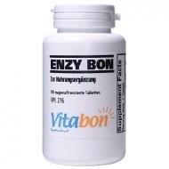 Enzy Bon hochdosiertes Multienzym 100 magensaftresistente Tabletten. Enthaltene Enzyme Bromelain 900mg, Papain 1150mg, Trypsin, Alpha-chymotrypsin, Pankreatin, Amylase, Lipase. Europäisches Enzym Nahrungsergänzungsmittel als Multi Enzym (Tabletten Enzym 100)