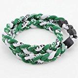 Eleganantimpresionante 3 Cuerdas de Titanio Ionic Sports Collar Trenzado de Béisbol Softball Fútbol (Verde/Verde/Blanco)
