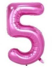 SiDeSo® 1 Folienballon XXL ROSA Heliumgeeignet Party Geburtstag Jahrestag Hochzeitstag Jubiläum Zahlenluftballon Luftballon Zahl (Zahl 5)