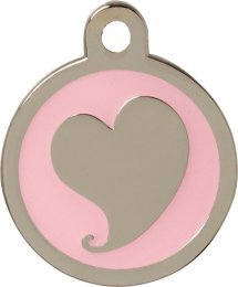 Bow Wow Meow Bow Wow Meow Pet ID Tags - Personalised Engraved Silver Heart Pink Pet Tag - Large - FREE shipping, dispatched within 24 hours, ENTER YOUR ENGRAVING INSTRUCTIONS AS A GIFT