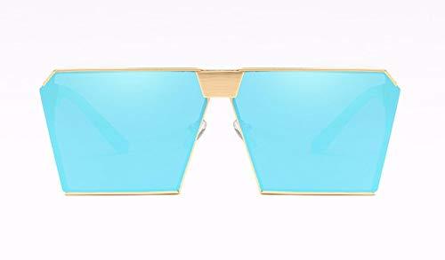 WSKPE Sonnenbrille,Metallische Sonnenbrille Unisex Sonnenbrille Gold Frame EIS Fahren,Blaue Linse