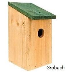 Spetebo - Pajarera fabricada en madera natural con tejado de color verde