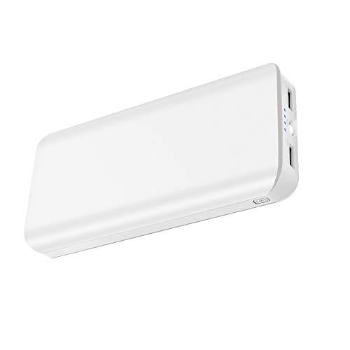 Batterie Externe 25000mAh Power Bank Portable avec Double Ports USB et 4 Modes LED Flashlight Ultra-Capacité Chargeur Portable de Secours pour Smartphone Tablette PSP et D'autre USB Via Device (Blanc)