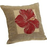 AMountletstore Red Hibiscus Brentwood Panama Jacquard Chenille Knife Edge Cotton Linen Decorative Throw Pillow Case 18X18inch