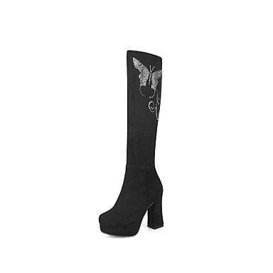 RTRY Scarpe da donna in pelle Nubuck Autunno Inverno lanugine Fodera comfort moda Stivali Stivali Chunky tallone punta tonda ginocchio stivali alti scintillanti Glitter US5 / EU35 / UK3 / CN34