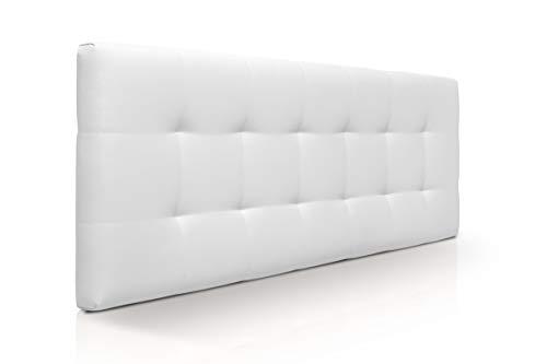 SUENOSZZZ - Cabecero de Cama 145x57 cm CANADÁ, para Camas de 135 | Cabezal Madera Acolchado tapizado en Polipiel Color Blanco