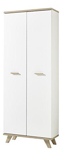 Germania 4054-221 Aktenschrank im skandinavischen Design GW-Oslo in Weiß/Absetzungen Sanremo-Eiche-Nachbildung, 75 x 193 x 37 cm (BxHxT) -