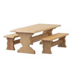 Dolls House Light Oak Trestle Table & Bench Set Pub Kitchen Dining Furniture