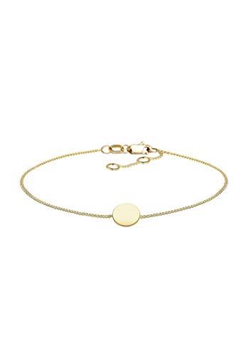 Elli Premium Armband Damen Kreis Basic Geo Anhänger Armschmuck in 375 Gelbgold
