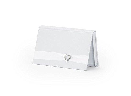 BOX busta PORTA SOLDI colore BIANCO PERLA con CUORE matrimonio SPOSI nozze