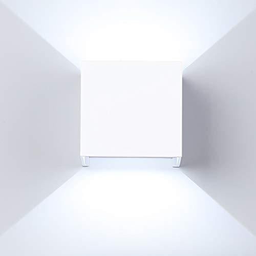 ETiME 12W LED Wandleuchte außen Wandlampe Wasserdicht Wandbeleuchte mit einstellbar Abstrahlwinkel IP65 LED Wandbeleuchtung Kaltweiß (Weiß 12W) -