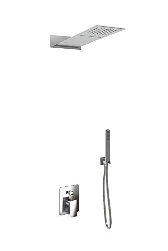 Kit Doccia 3 Vie Soffione Rettangolare Acciaio Inox 55x23 cm Slim 2,5 mm con Cascata Cervicale + Presa Acqua + Flessibile + Doccino