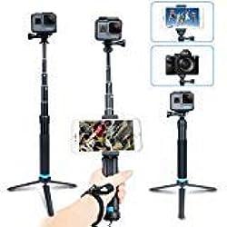 AFAITH Palo telescopico Impermeabile bastone selfie Treppiede regolabile estensione lega di alluminio Hand Grip Monopiede per GoPro Hero 2018 Hero7 Black Hero 6/5 e iPhone XS Max/XS/XR/8/7, Smartphone