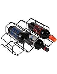 Buruis Metall Weinregal Wine Storage System-Kühlschrank Oder Bench Speicherung und Schutz für Rot Wein & Weiß Weine Sicher Stack 7Flasche Schwarz