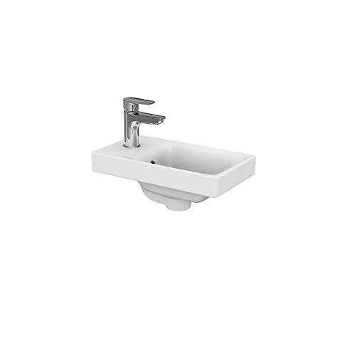 VBChome Kollektion Moduo 40 40 cm x 22 cm x 5,8 cm Waschtisch für Unterschrank Einbau Waschbecken mit Überlauf Weiß Keramik Waschtisch Handwaschbecken Einbau -Waschschale FÜR BADEZIMMER