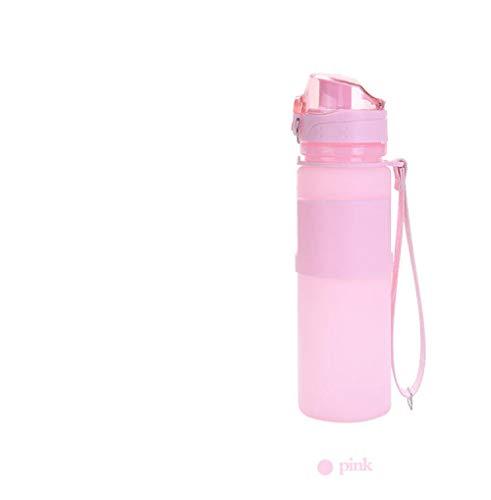 Yoerey Faltbarewasserflasche 500 ml silikon wasserkocher Outdoor Reise Falten Sport Running @ pink