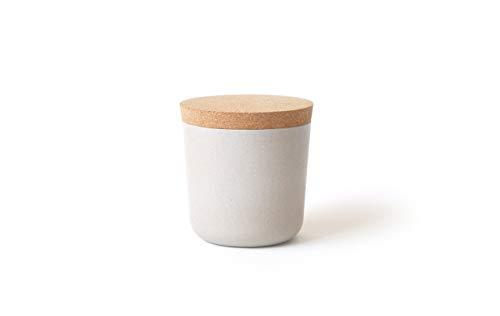 EKOBO Vorratsdose S (250 ml), stone / sandgrau, ø 8 x 8,5 cm, zur Aufbewahrung von Salz, Zucker, Tee, Gewürzen und mehr (Salz Deckel Schüssel Mit)