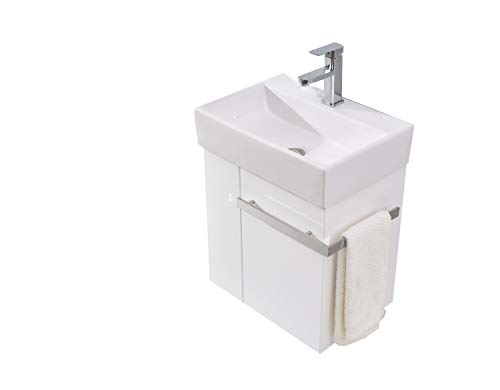 Badmöbel-Set Compact 500 für Gäste-WC - Weiß matt, Ablaufgarnitur/Pop-up:Mit Ablaufgarnitur