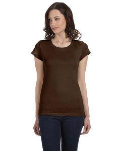 Ladies' Sheer Mini Rib Short-Sleeve T-Shirt CHOCOLATE XL - Ladies Boatneck