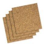 Vier-panel-natural (Cork Panel Bulletin Board, Natural Cork, 12 x 12, 4 Panels/Pack)