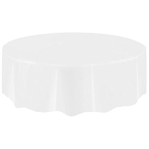 FeiliandaJJ Tischdecke Große Rund Einweg Tischtuch Volltonfarbe Kunststoff Tisch Cover für Hochzeit Party Geburtstagsparty,Farbe Wählbar, Lebensmittelecht, 2.13M (Weiß) (Große, Runde Tischdecken)