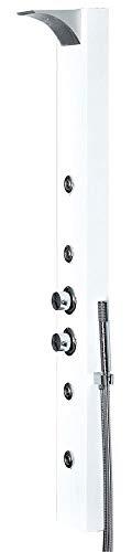 Aluminium Thermostat LED Duschpaneel Duschsäule Wasserfall Massage Regenschauer Weiß Weiss Sanlingo