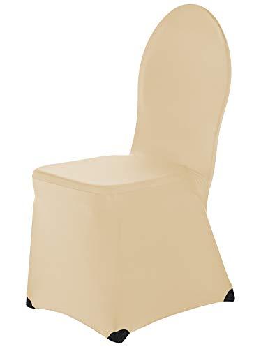 SCHEFFLER-Home Ben 2er Set Bankett Stuhlhussen Stretch, Stuhlabdeckung elastisch Spannbezug mit Fuß Kappen, Champagner