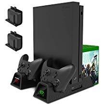 Multifunktional Vertikal Cooling Stand für Xbox One/One S/One X, Controller Ladegerät mit LED Indikatoren, Spiele Aufbewahrung, Dual-Ladestation Dockingstation mit 2Stück 600mAh Akku für Xbox One/S/X
