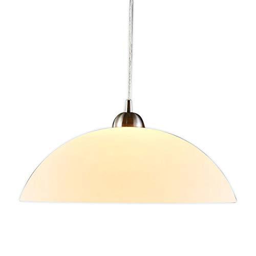 Lampenwelt Pendelleuchte 'Valeria' dimmbar (Modern) in Weiß aus Glas u.a. für Küche (1 flammig, E27, A++)   Glas-Hängelampe, Hängelampe, Esstisch, Lampe, Küchenleuchte