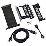 Cablemod Support de Carte Graphique Vertical avec câble de Montage PCIe x16, 1x DisplayPort, 1x HDMI - Noir