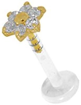 Labret Bioplast Lippen Piercing Mit 18K Gold Aufsatz Blume 6 Stein Weiss FLGAJ08