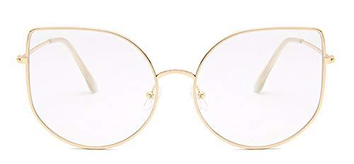 WSKPE Sonnenbrille Cat Eye Sonnenbrille Frauen Sexy Brille Metallgestell Sun Glaases Gold Rahmen Transparent Linse