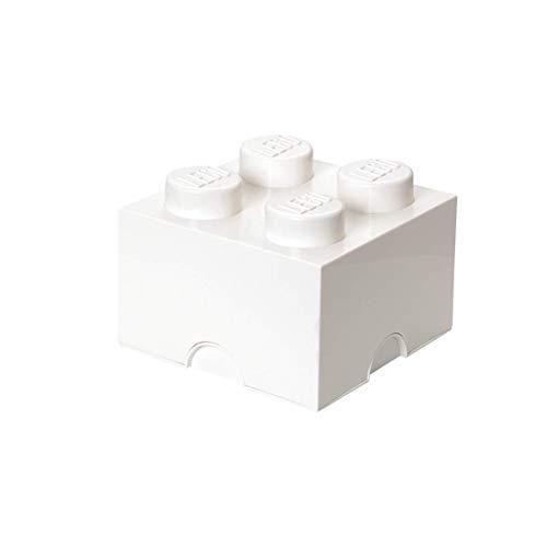 LEGO Aufbewahrungsstein, 4 Noppen, Stapelbare Aufbewahrungsbox, 5,7 l, weiß (Box Storage Spielzeug)