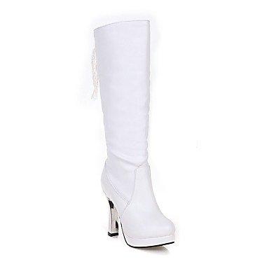 Rtry Femmes Chaussures Pu Similicuir Automne Hiver Confort Nouveauté Mode Bottes Chunky Bottes Talon Bout Rond Genou Bottes Laces Pour Party & Amp; Us9.5-10 / Eu41 / Uk7.5-8 / Cn42