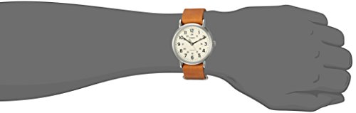 Timex Weekender Unisex T2P492 Quartz Watch with Yellow Dial Analogue Display and Brown Leather Strap
