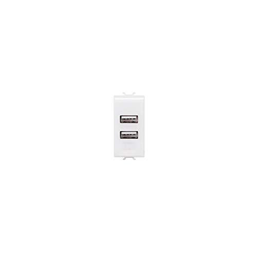 GEWISS GW10450 CHORUS alimentatore USB doppio 1 modulo bianco