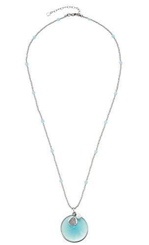 Jewels by Leonardo Damen-Halskette Mare, Edelstahl mit blauem Glas-Stein und blauen Mini-Glasperlen, mit Karabinerverschluss, Länge 600 mm, 016933