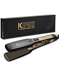 KIPOZI Plancha de pelo profesional de titanio con pantalla LCD digital, voltaje dual, calentamiento instantáneo