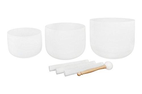 Juego de 3 cuencos de cristal esmerilado para chakra de 7 a 11 pulgadas, chakra con forma de corazón de 23 cm y chakra de 28 cm de ancho, incluye 1 mazo blanco