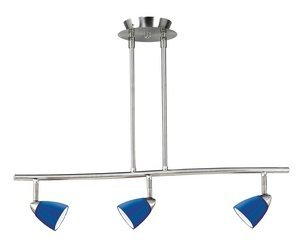 Cal Lighting SL-954-3-BS/BL Track Lighting with Blue Glass Shades, Brushed Steel Finish by Cal