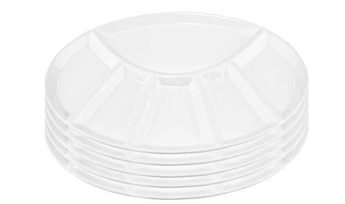 BigDean 5er Set - Fondueteller/Racletteteller weiß mit 6 Einteilungen - Robuste Keramik - Ideal für Feiern, Feste & Fondue
