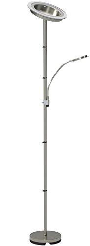 LED Stehlampe inkl LED Platine 230V IP20 20W LED Stehleuchte modern Deckenfluter mit Leselampe LED Standleuchte warmweiss Metall-Glas matt nickel 2000lm 21 Watt schwenkbar Wohnzimmer