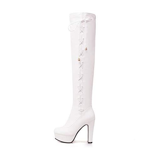 MENGLTX High Heels Sandalen Big 34-50 Frauen Overknee Stiefel High Heels Schuhe Round Toe Stiletto Lange Stiefel Frau 17 White -