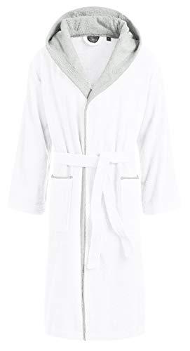 Egeria CAIRO Unisex Bademantel mit Kapuze für Damen und Herren, Farbe White, Größe M (Damen Bademäntel Knie-länge)