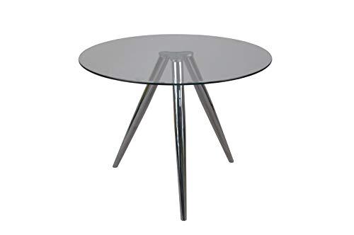 Unbekannt SalesFever Tisch Esstisch rund mit Glasplatte und Chromgestell Ø100 cm Chrom, Glas L = 100 x B = 100 x H = 75 chromfarben, transparent