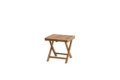 Ploß Fußhocker Arlington aus Teak-Holz - Garten-Schemel klappbar - Gartenhocker für Balkon & Terrasse - Holzhocker leicht für Küche, Bad & Dusche - Outdoor-Hocker mit FSC-Zertifikat -