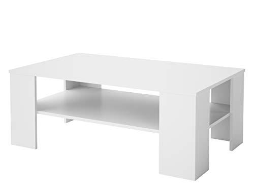 Mirjan24 Couchtisch, Laminatplatte, Weiß, 107 x 66 x 41 cm